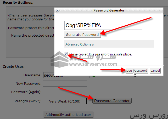 click on password generator and use password